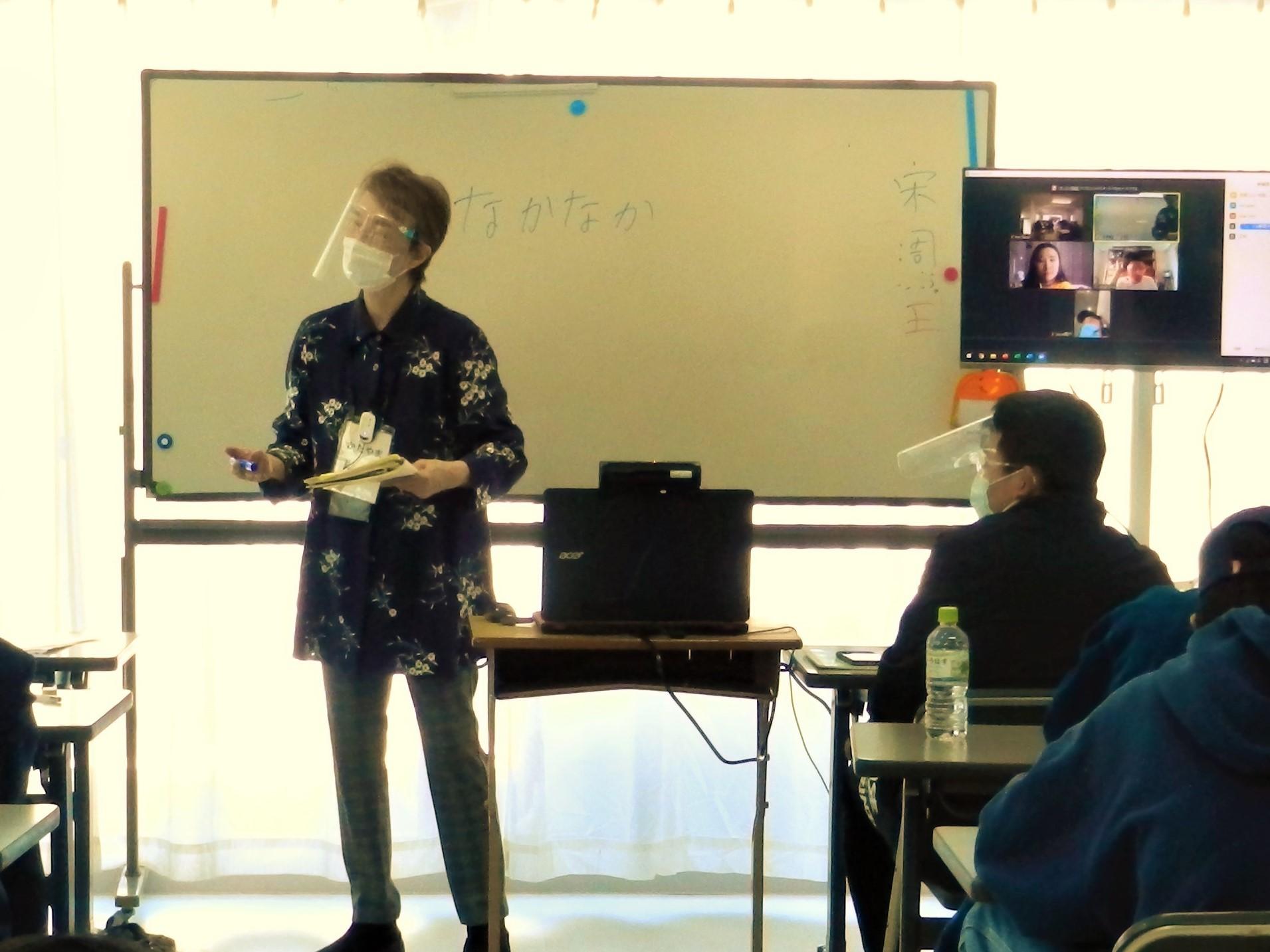 在日本以外的學生也一起上課了